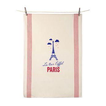 Torchon La Tour Eiffel Paris 55x80 cm 100% coton - Tissage de L´Ouest