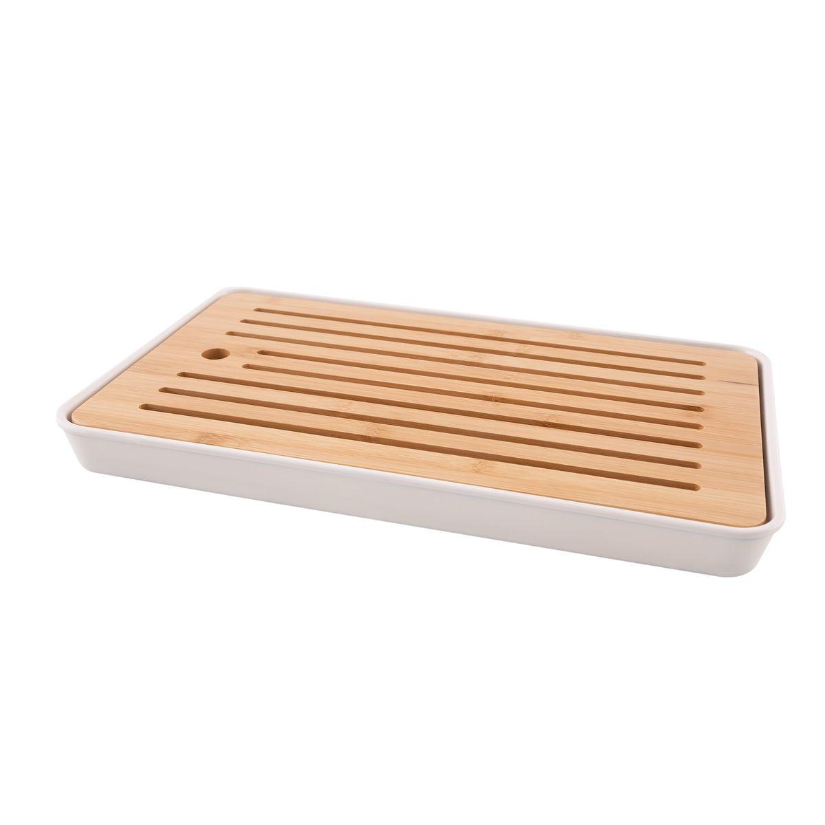 Planche à pain bambou & fibre bambou blanc cassé 43x26x4.3cm - PointVirgule