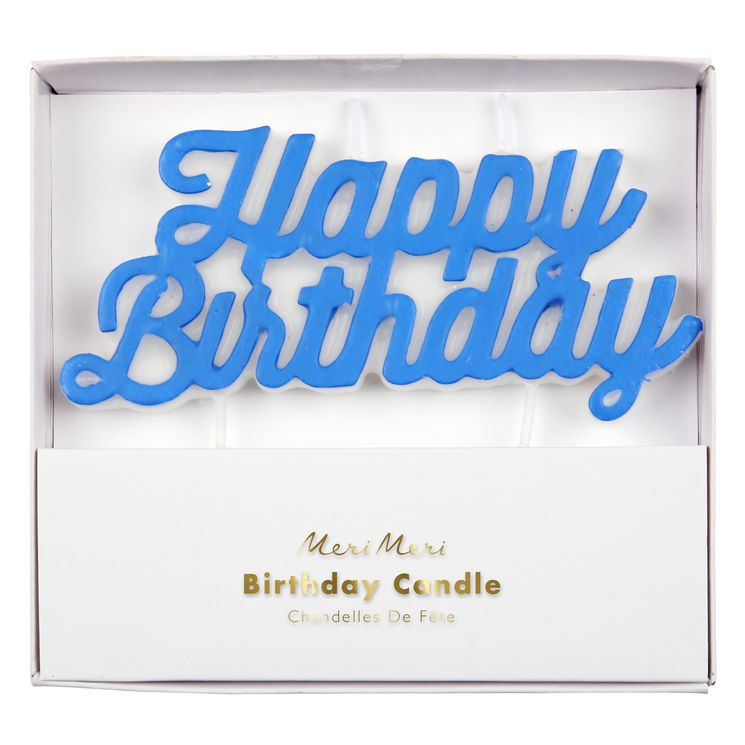 Bougie Happy Birthday bleue - Meri Meri