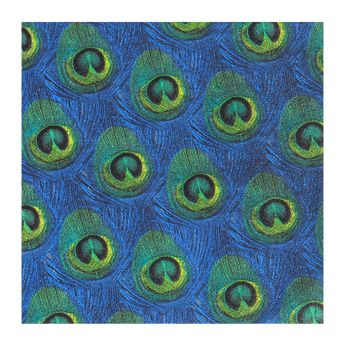 Serviettes 33cm x 33cm plumes paon bleu - AvantGarde