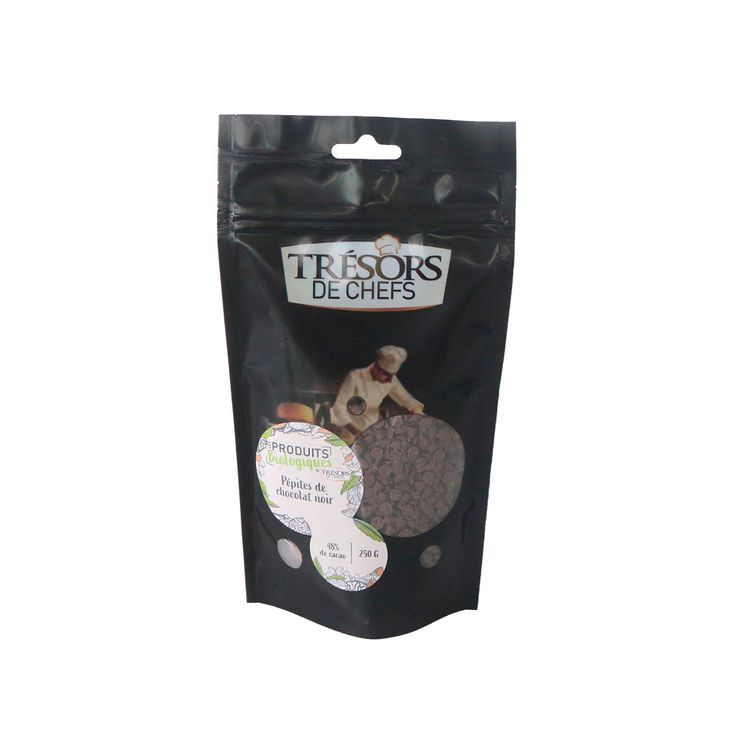 Pépites de chocolat noir 48% biologique 250gr - Trésors de Chefs
