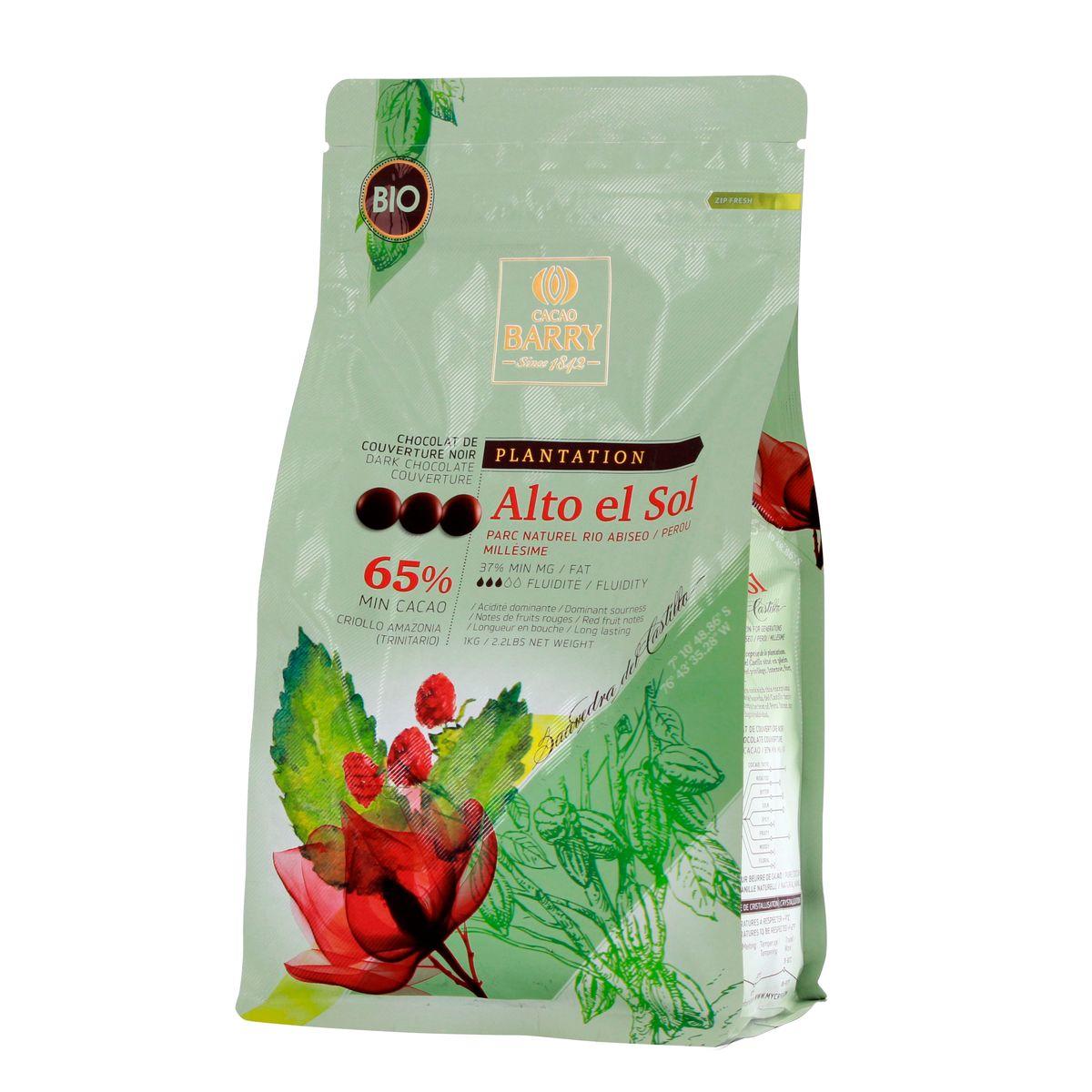 Chocolat de couverture noir Alto El Sol bio 1kg - Barry
