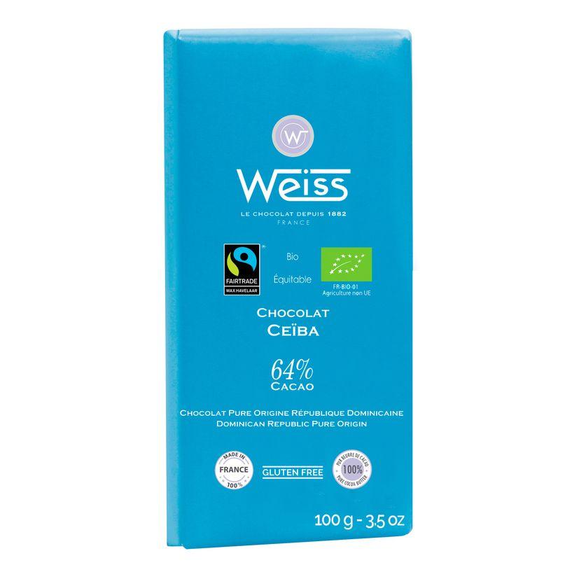 Tablette ceiba 64% bio-equitable 100gr - Weiss