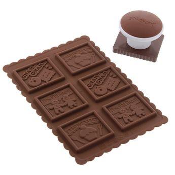 Achat en ligne Kit petits biscuits : emporte-pièce biscuit et moule tablette de chocolat - Silikomart