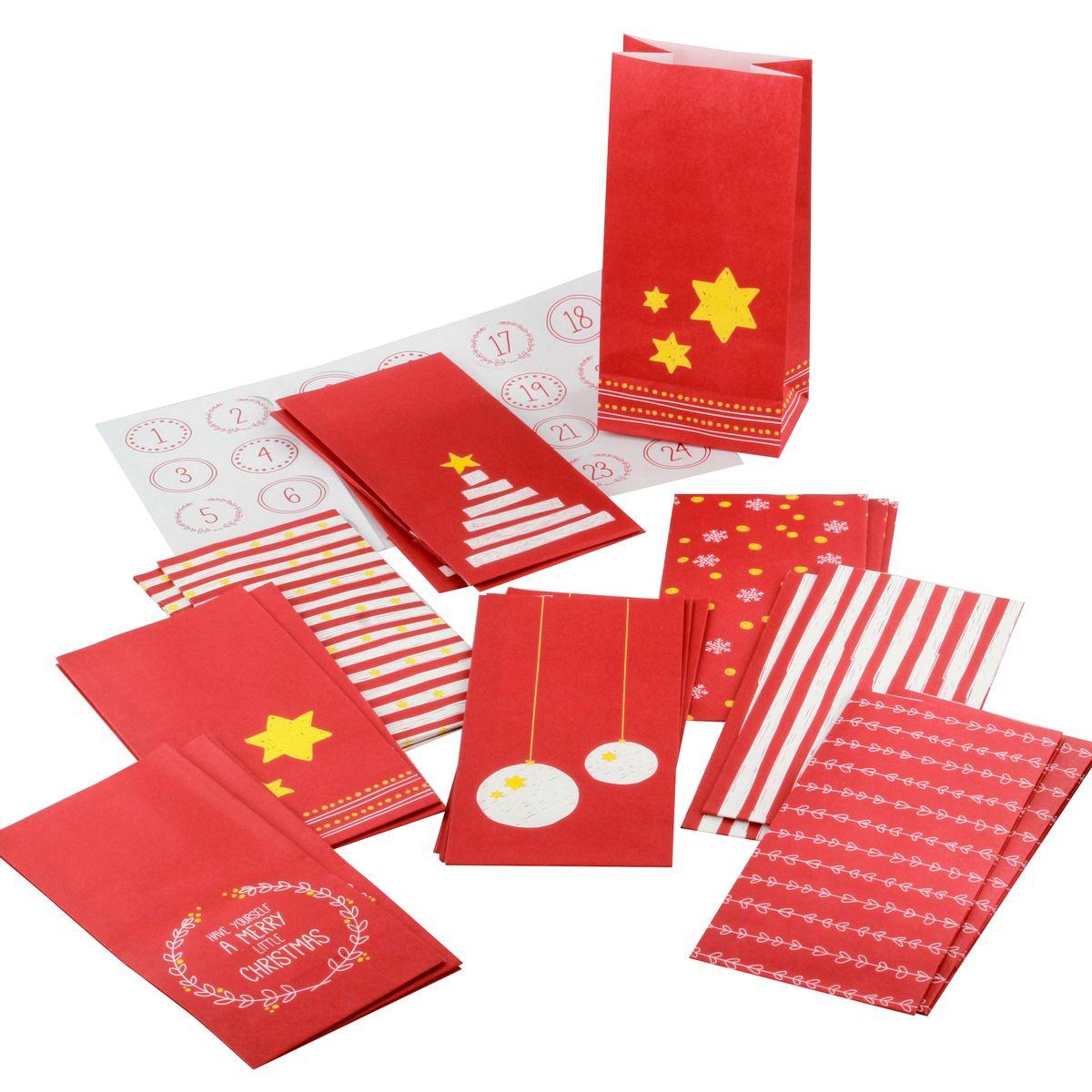 Kit calendrier de l´avent 24 sachets + 24 stickers - Birkmann