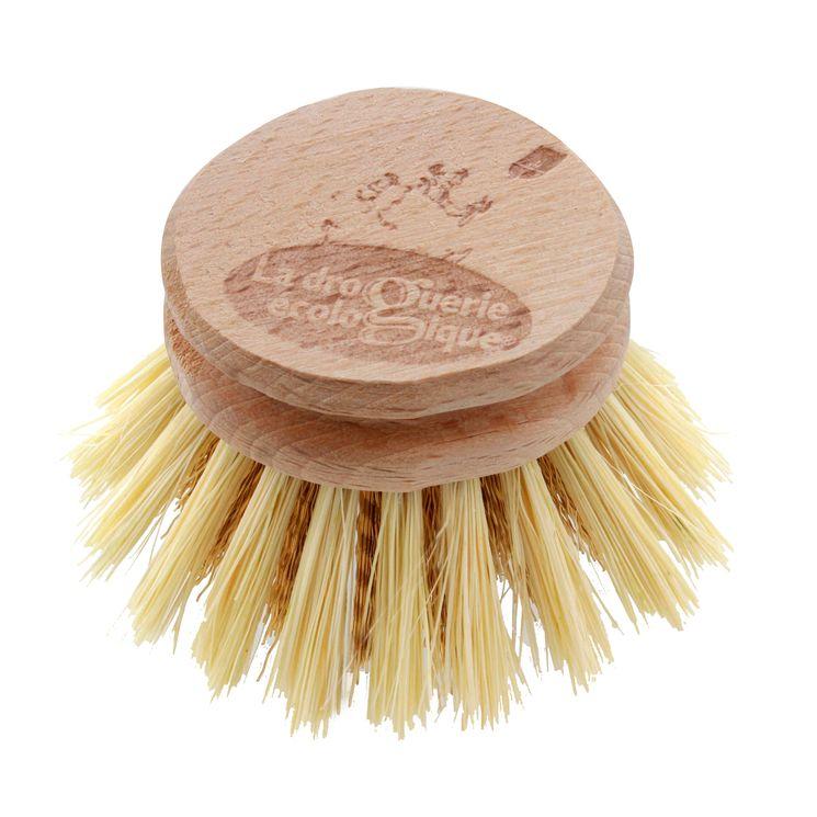 Recharge tête de brosse à vaisselle en fibres de laiton et bois de hêtre non traité 5.7 cm - La droguerie écologique