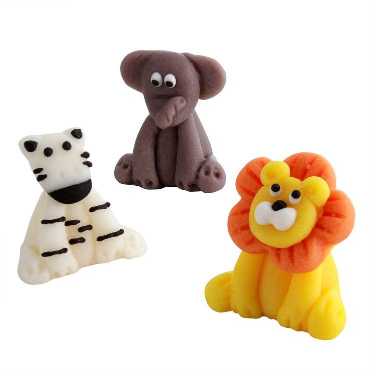 Décor 3D : 3 figurines animaux : lion, éléphant et zébre