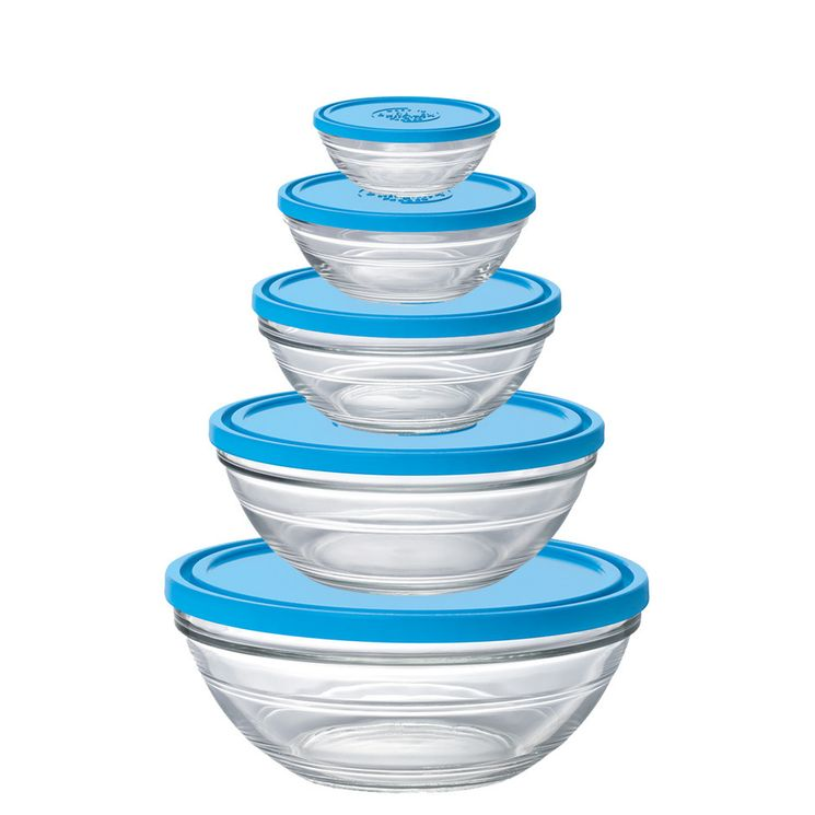 Lot de 5 boîtes en verre rondes transparent avec couvercle bleu - Duralex