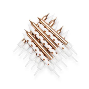 Achat en ligne 12 bougies métalliques dorées avec supports - Anniversary House