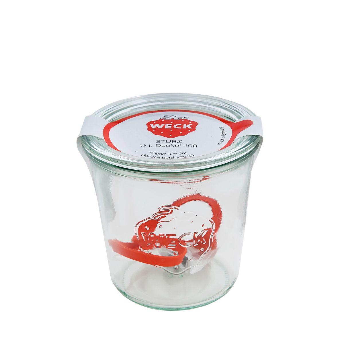Bocal de conservation hermétique en verre avec clips et joints 580 ml diamètre 100 mm - Weck