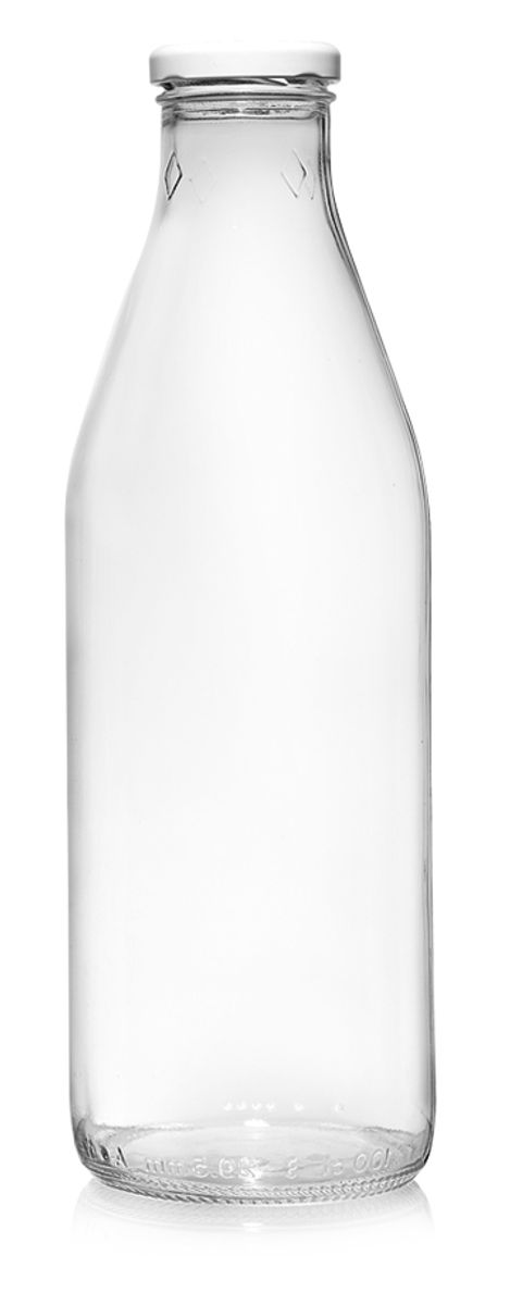 Bouteille forme arrondie en verre transparent 1l 8.5 x 26.3 cm - Cerve