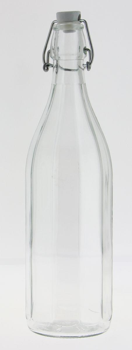Bouteille limonade avec lignes en verre transparent 1 l 8.6 x 30 cm - Cerve