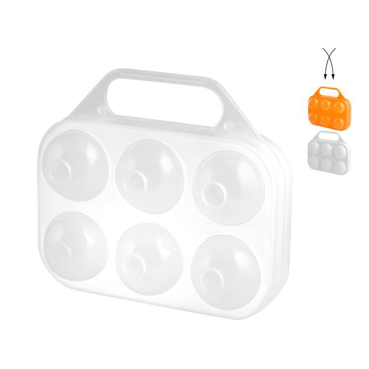 Boite en plastique 6 oeufs blanche ou orange 15 x 16 cm - Cosmoplast