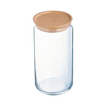 Achat en ligne Bocal en verre avec couvercle en bois 1,5L 10,5x10,5x20,5cm - Luminarc