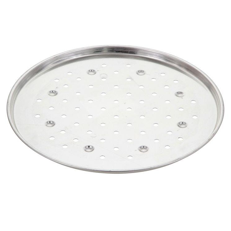 Plaque à pizza fer blanc 34cm perforée - Gobel