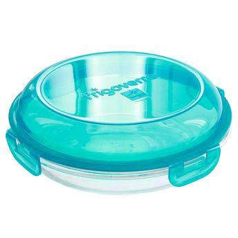 Achat en ligne Boite de conservation en forme d´assiette en verre couvercle bleu 22 cm Frigoverre - Bormioli