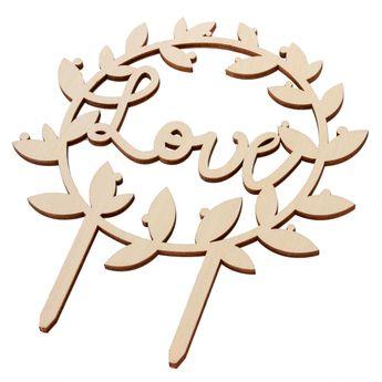 Décoration de gâteau cake topper en bois Love 11 x 12.5 cm - Scrapcooking