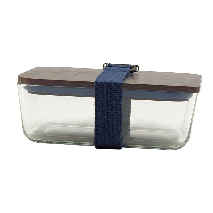 Lunch box bleu foncé en verre couvercle bambou 6.5 x 11.7 x 17.5 cm - Cookut