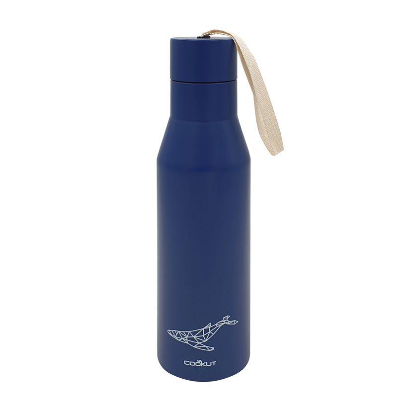 Bouteille isotherme nomade en inox bleu foncé motif baleine 0.5 l 6 x 25 cm - Cookut