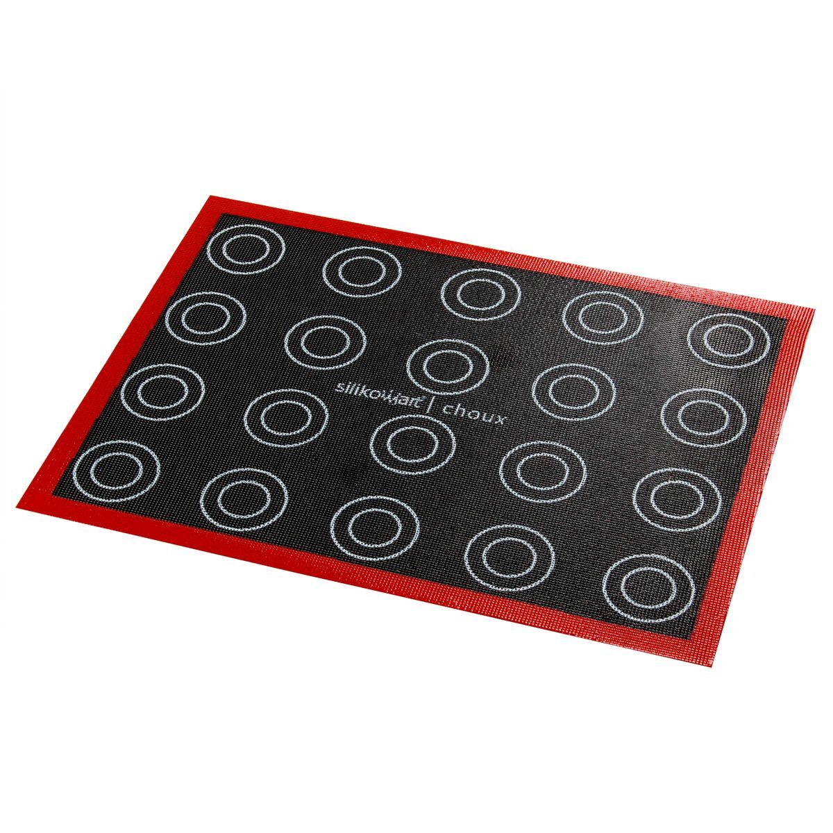 Tapis en silicone micro perforé avec empreintes noir et rouge 30 x 40 cm - Silikomart