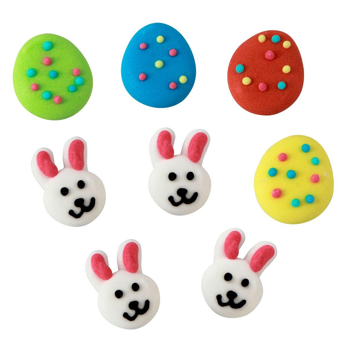 Décors de Pâques : 8 oeufs et lapins en sucre
