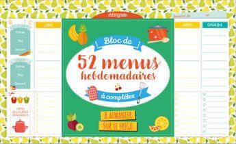 Achat en ligne Bloc de 52 menus Hebdomadaire à compléter - Mango