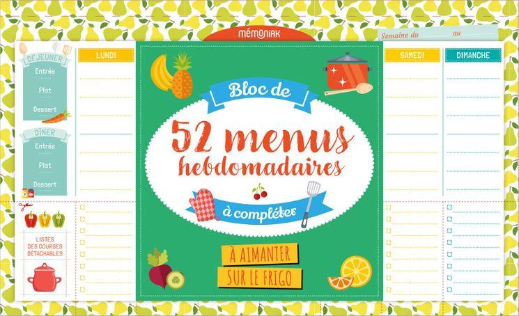 Bloc de 52 menus Hebdomadaire à compléter - Mango