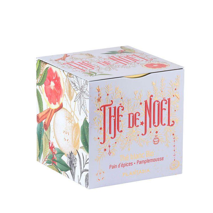 Cube métal Thé de Noêl blanc pain d'épices. pamplemousse Bio 48g - Provence d´Antan