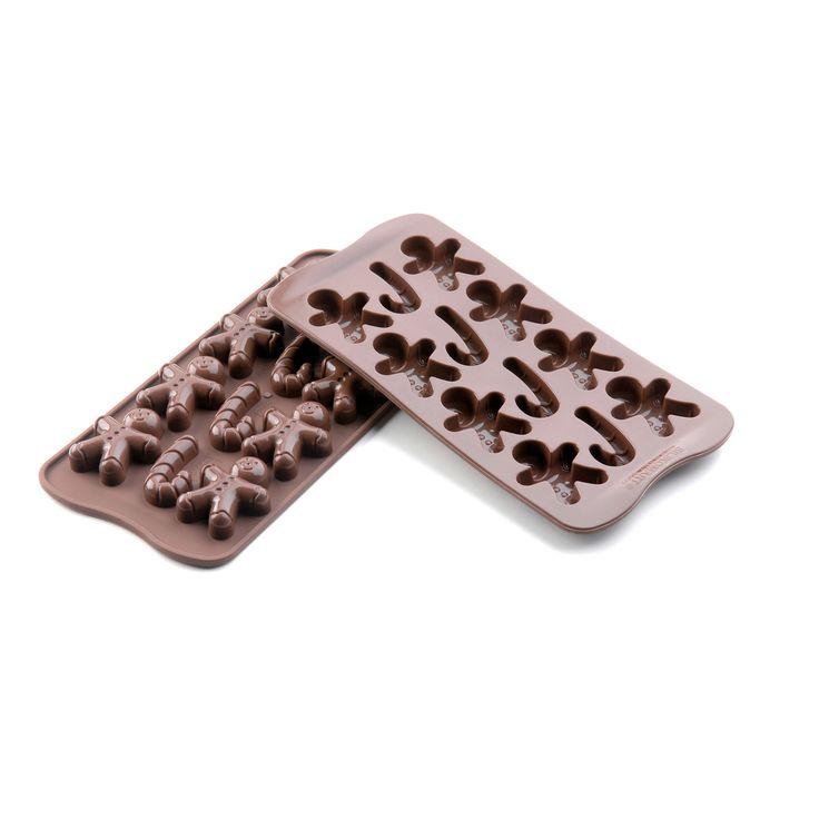 Moule à chocolat en silicone 12 bonhomme gingerman et canne à sucre de Noël 11 x 21.5 cm - Silikomart