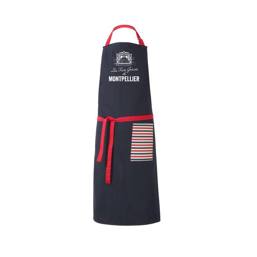 Tablier les 3 grasses de Montpellier Marine 100% coton 80 x 100 cm - Tissage de l´ouest