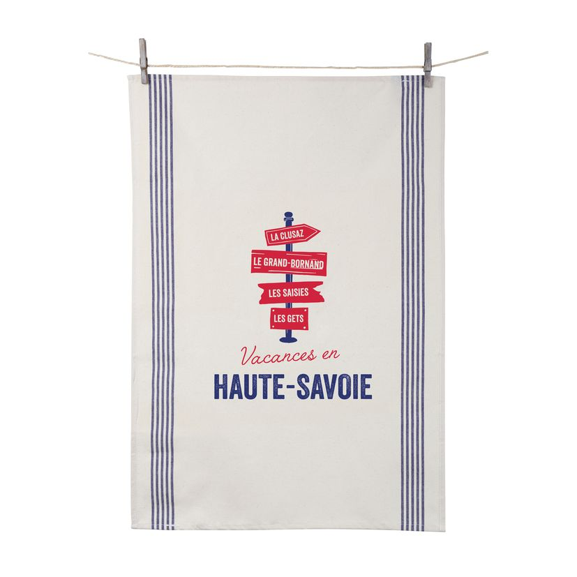 Torchon Vacances en Haute Savoie 55x80 cm 100% coton - Tissage de L´Ouest