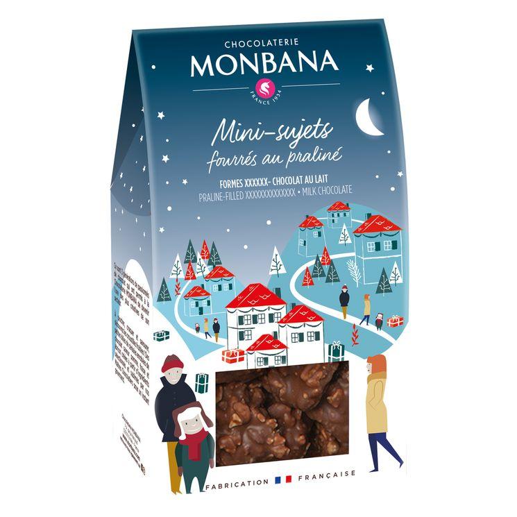 Mini sujets noel chocolat lait 130g - Monbana