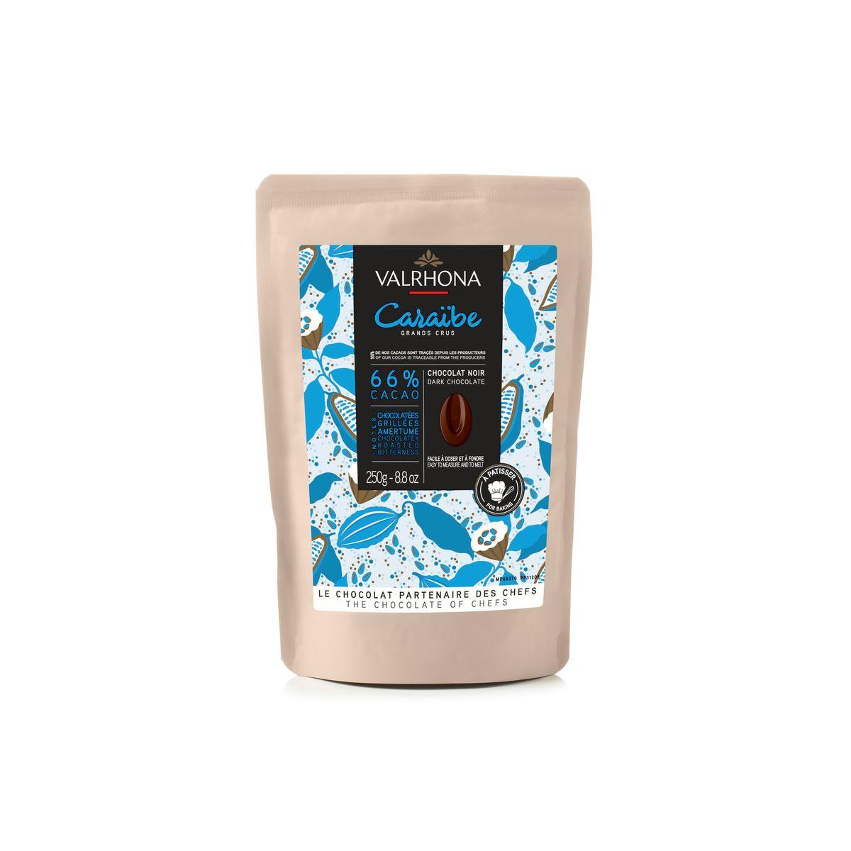 Chocolat noir à pâtisser Caraibe 66%  250g - Valrhona
