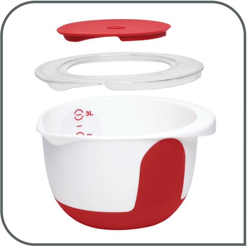 Bol de préparation Mix & Bake avec couvercle blanc et rouge 2 l - Emsa