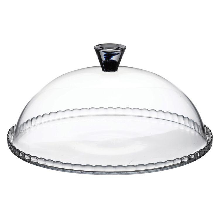 Plat à gâteau avec cloche en verre transparent 32 cm - Pasabache