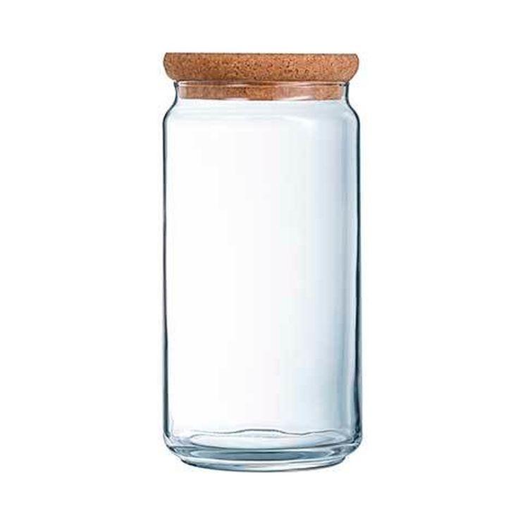 Bocal en verre avec couvercle liège 2L 10,5x10,5x26cm - Luminarc
