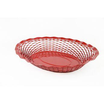 Achat en ligne Corbeille à pain en inox rouge 24 x 18 cm - Roger Orfevre