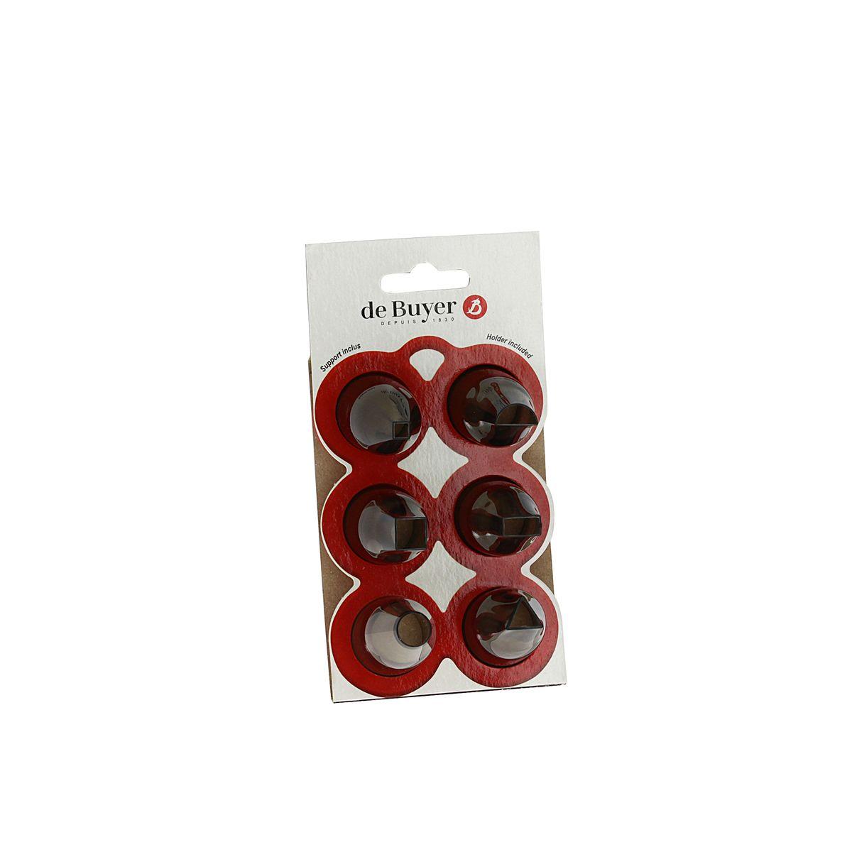 Set de  6 douilles géométriques en tritan : 1 douille ronde (8mm). 2 douilles carrées (5 et 10 mm). 1 douille demi lune (14 mm). 1 douille triangle (10 mm). et 1 douille rectangle (12 mm) - De Buyer