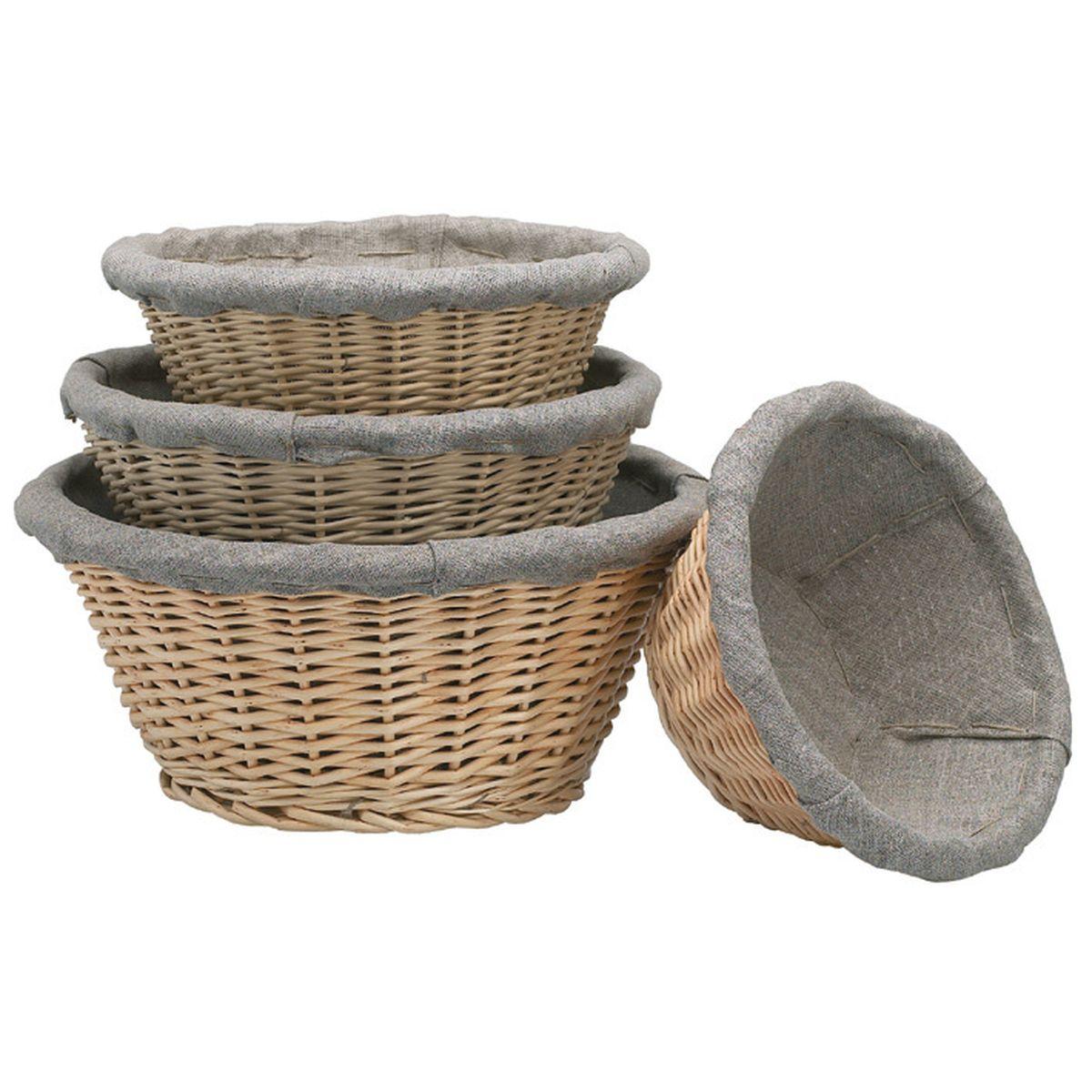 Banneton pour pain rond en osier et toile de lin 24 cm - Matfer