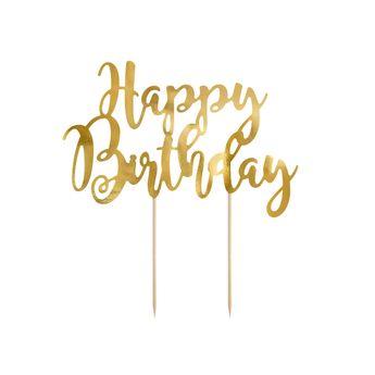 Achat en ligne Décor de gâteau : Happy Birthday doré 22.5 cm - Party Deco