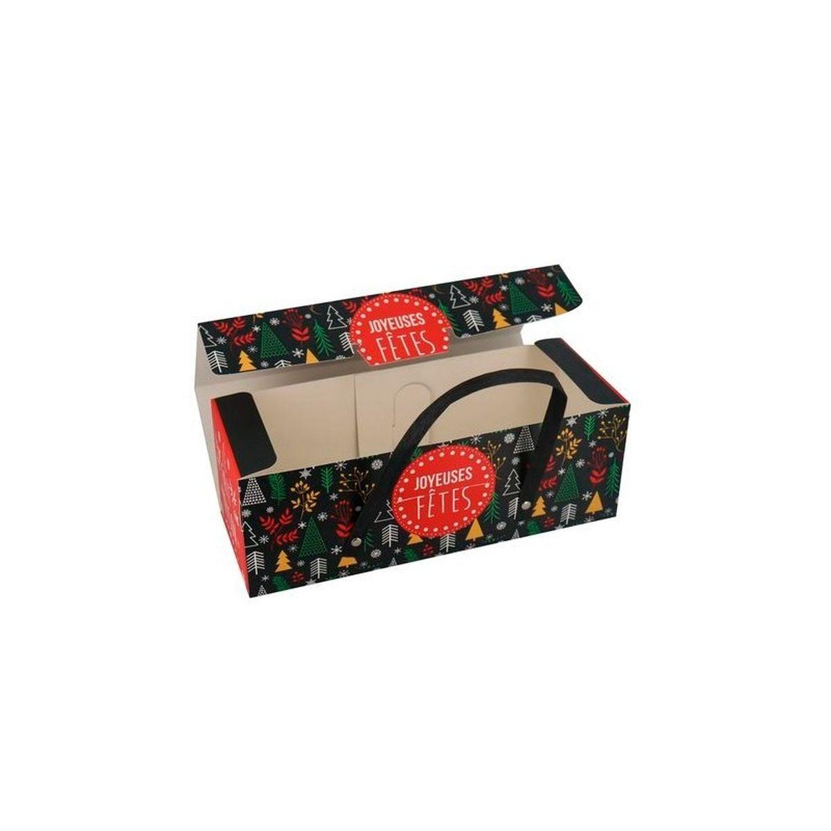 Boite de transport pour bûche en carton avec poignées 11 x 11 x 30 cm - Patisdecor