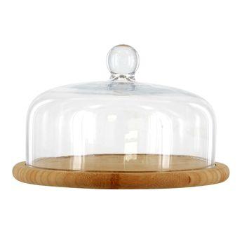 Achat en ligne Cloche en verre avec socle en bambou. diamètre 30 cm - Point Virgule