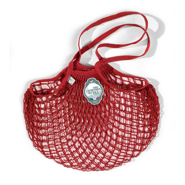Filets à provisions anses longues en coton rouge 40cmx70cm - Filt