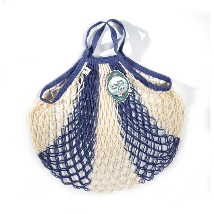 Filets à provisions anses courtes en coton rayé bleu ecru 40cmx40cm - Filt