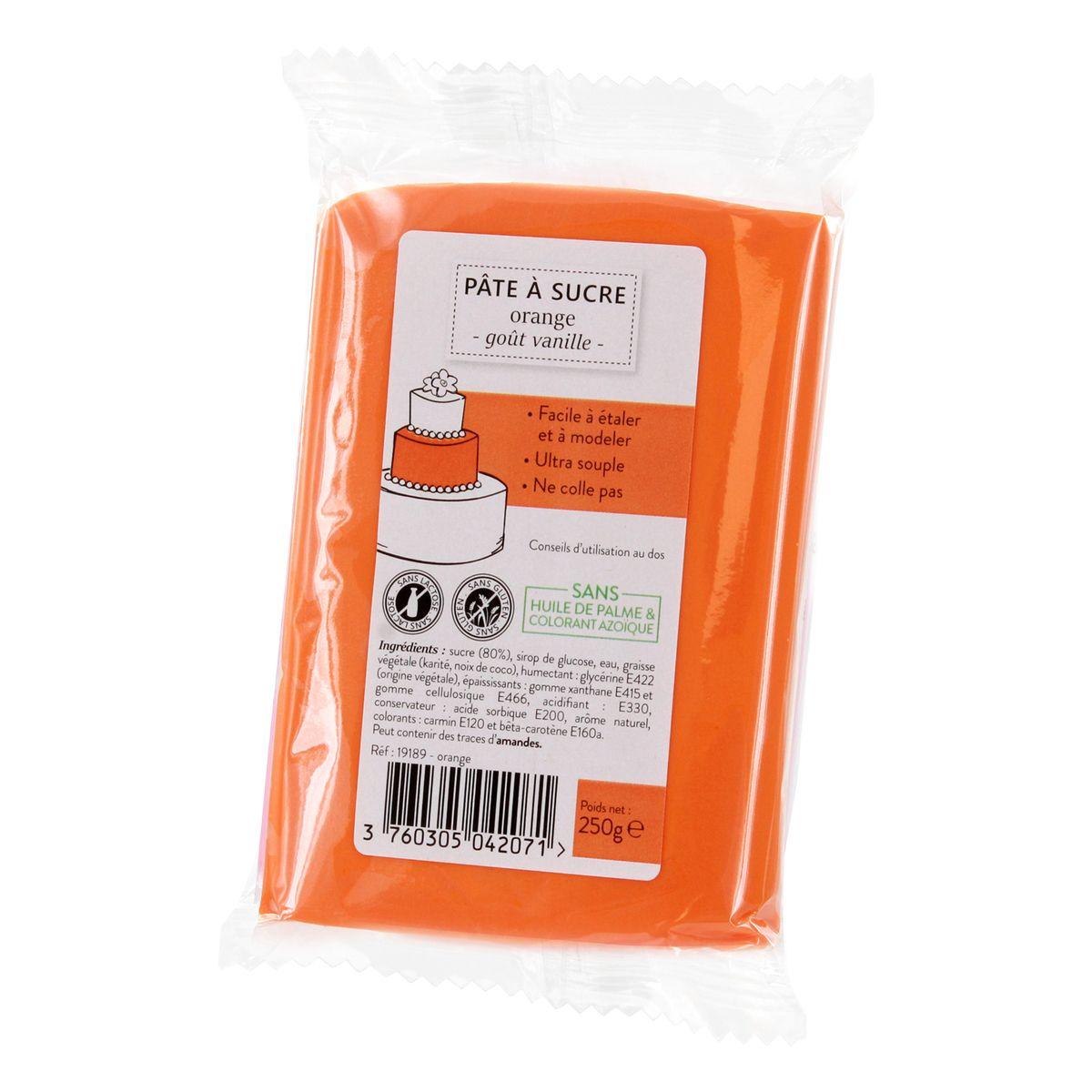 Pâte à sucre orange 250g sans huile de palme