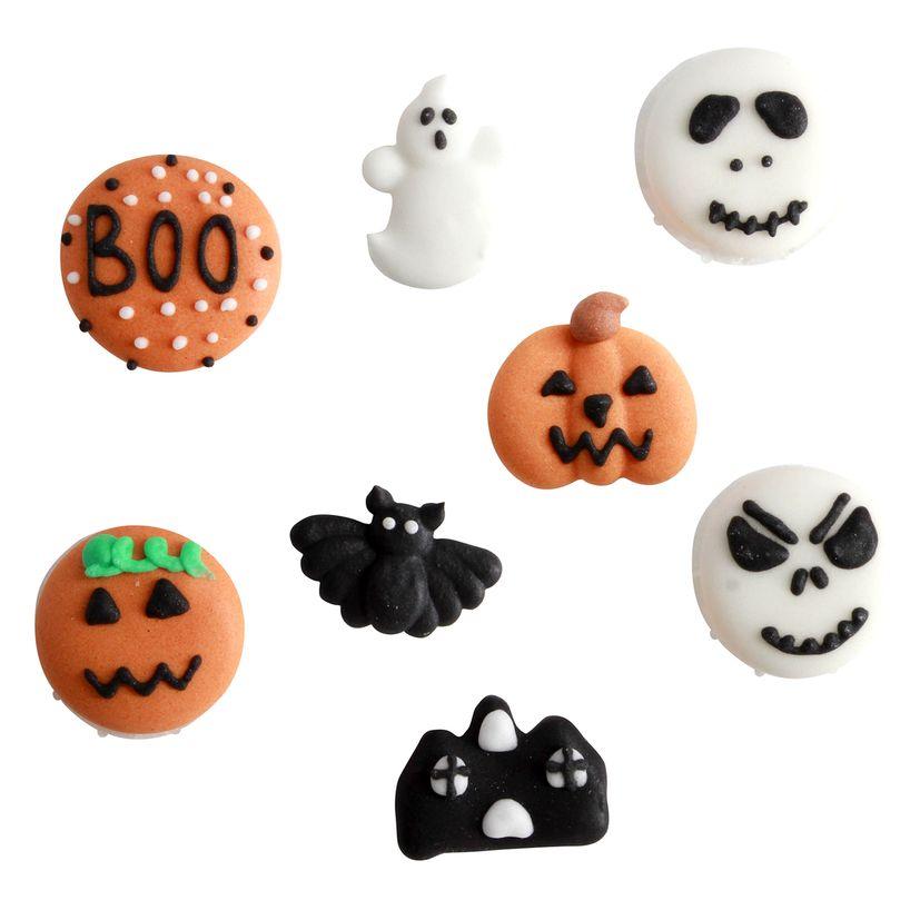 Plaque de décors comestibles : 8 décors noirs, blancs et oranges Halloween