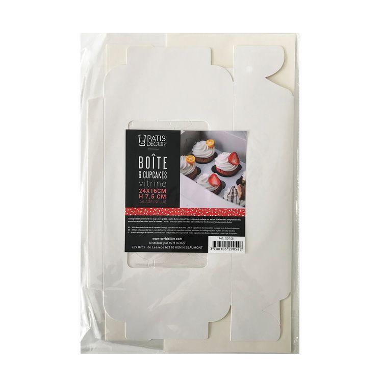 Boite de transport 6 cupcakes en carton blanc 24 x 16 x 7.5 cm - Patisdecor