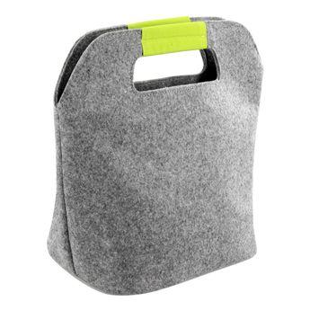 Achat en ligne Sac isotherme en feutrine gris et vert 16 x 17 x 26 cm - Zeller