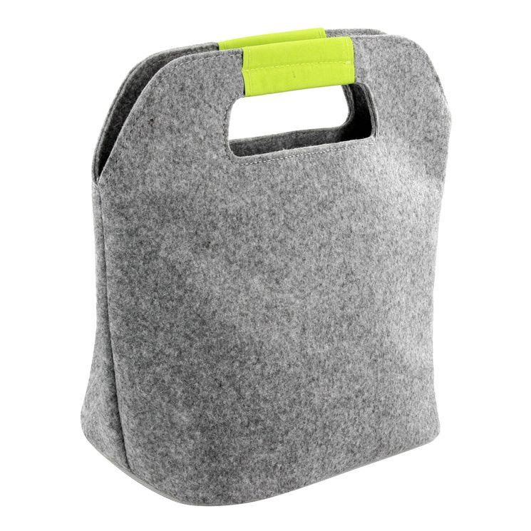 Sac isotherme en feutrine gris et vert 16 x 17 x 26 cm - Zeller