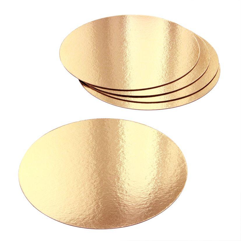 5 supports à gâteaux ronds dorés 18 cm - Gatodeco